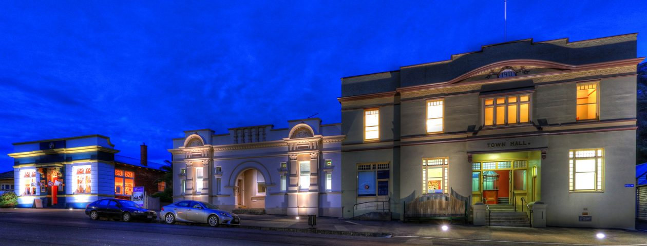 Stanley Town Hall Exterior at Night